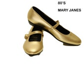 1980s Vintage Gold Womans Mary Janes Size 7