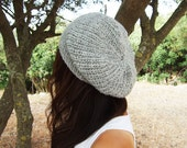 Alessandra Light Grey Gray Slouchy Hat in 100 per cent Wool - Available in 9 Different Shades