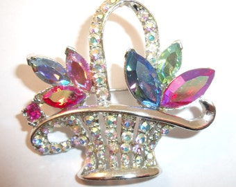 Flower basket brooch with aurora borealis rhinestones