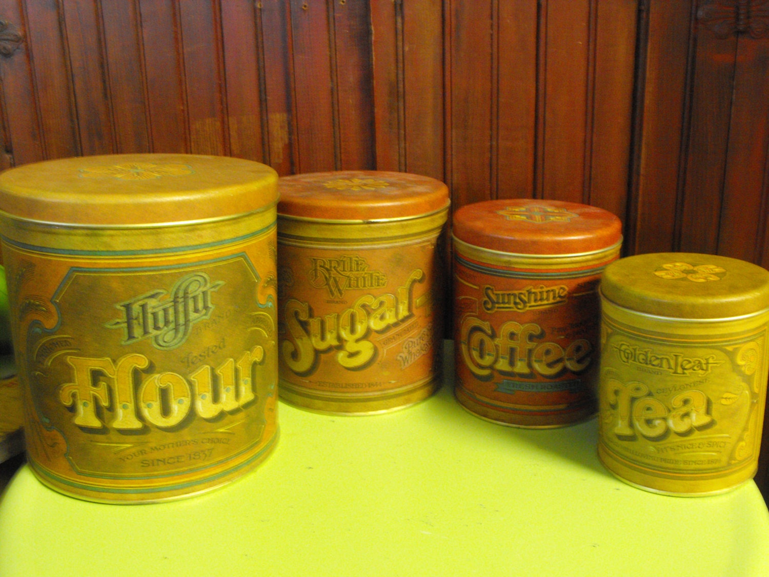 vintage ballonoff country kitchen canister set of 4 by
