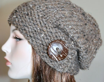 Women Hat Slouchy Hat Slouch Beanie Button Hat Hand Knit Winter Wool CHOOSE COLOR Barley Brown Wood Neutral Chunky Hat Gift under 50