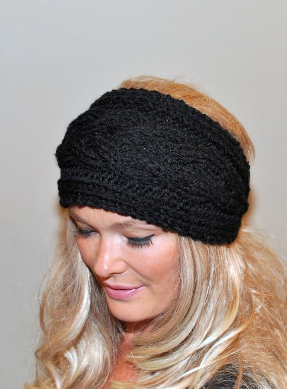 Earwarmer Cabled Ear Warmer Black Winter Crochet Headband Chunky Ear ...
