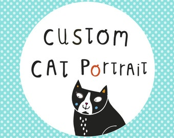 Custom Cat Portrait - pet portrait - an original drawing of your pet by messy my