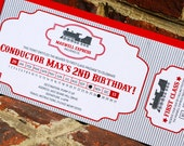 12- Choo Choo Train Invitations (Printed w/envelope and custom address label}
