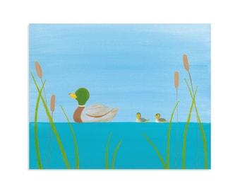Duck Nursery Decor - Ducklings Print - Lake Decor - Lake Nursery Art