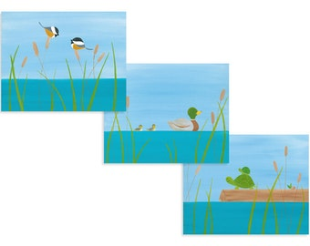 Lake House Decorations - Lake Print Set - Cute Lake Decor - Mallard Duck Prints