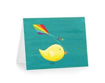 Bird Flying Kite Card - Thank You Blank Card
