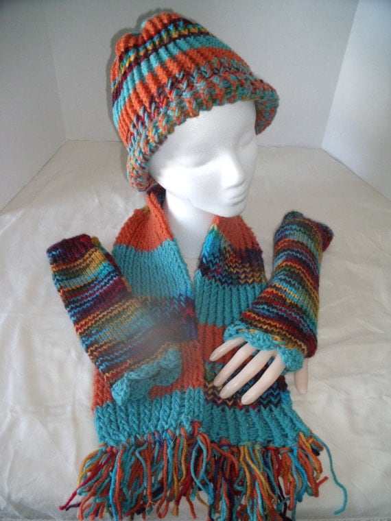 Hobo Gloves Knitting Pattern : Handmade Knitted Hat Scarf Hobo Glove Set by SweetCountryGems