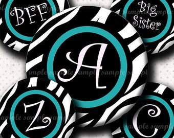 INSTANT DOWNLOAD Teal Zebra Alphabet (616) 4x6 Digital Collage Sheet Bottle Cap Images for bottlecaps hair bows .. bottlecap images