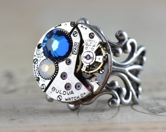 Steampunk Jewelry Unique Gift Watch Ring Steam Punk Ring Bermuda Blue Ring Unique Jewelry Opal Ring Jewelry Handmade Silver Ring Round