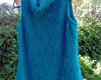sleeveless Teal top with Cowl neck, women's medium