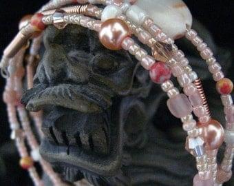 Beaded Memory Wire Bracelet Multi Strand Russian Jasper Peach and Pink Wrapped Bracelet