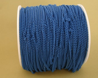 Deep Sky Blue Electroplated  Twist  Curbe Chain Colored Chain-15 ft.