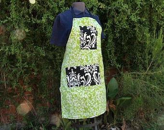Apron Light neon green floral pattern, 3 large pockets,woman's full bib, heavy canvas, fits medium to plus size