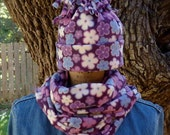 Girls Purple Fleece Hat and Scarf Set,  Girls Purple Winter Hat, Girls Purple Scarf