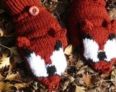 Red Fox Convertible Mittens Made to Order Hand Knit Rust Foxy Mitts Gloves