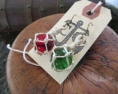 Miniature Fishing Float Earrings - Green and Red / Starboard and Port - OOAK