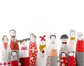 Family -Thirteen characters - grandparents, parentens ,uncles  and childrred in red Gray ,yellow , stripes and polka dots -handmade