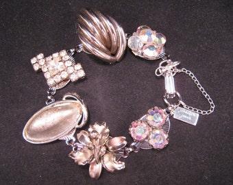 Bridesmaid Gift, Vintage Earring Bracelet, Wedding, Upcycled, Reclaimed, Bulk Discount, Silver, Rhinestone, Flower, Under 40, OOAK - Shine