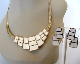 Vintage Enamel Jewelry Set - White Enamel Necklace and Earrings Set