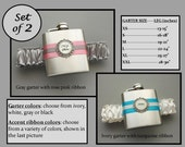 Two (2) Flask Garters: Bridesmaid / Wedding Party Gift Set - Choose Your Colors - Garters with Small Flasks