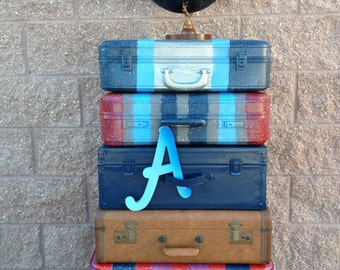 Luggage Stack Travel Theme Suitcases Decor World Travel Theme of 6 Cases
