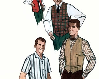 Simplicity 4160 Vintage 60s Men's Shirt, Vest and Reversible Vest Sewing Pattern - Uncut - Size 40