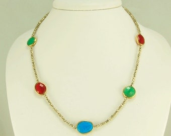"Sale: PYRITE NECKLACE ""STATIONS"" of turquoise, chrysophase, and carnelian"