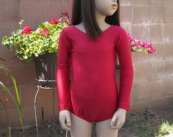 Red Leotard-Shiny(Child) Long Sleeve Leotard