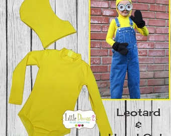 Minion Costume CHILD (Yellow) Mock-Neck Long Sleeve Leotard with Hood/ Seperate