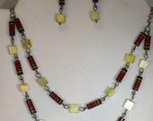 Green and Resistor Necklace Set - Upcycled Electronic Geek Jewelry