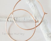 Rose Gold Hoop Earrings, Brushed Hammered Large Hoops