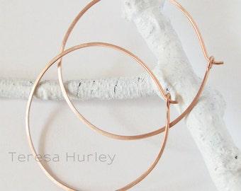 Rose Gold Hoop Earrings, Brushed Hammered Large Hoops
