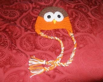 crochet childs owl hat, child hat, halloween