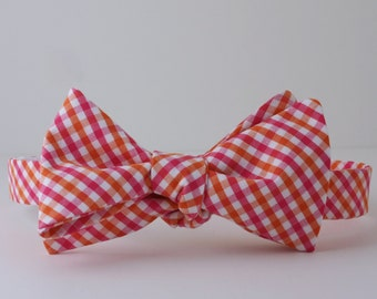 Pink and Orange Check Bow Tie