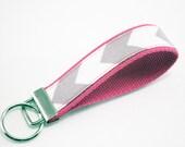 Fabric Chevron Key Fob, Keyfob, Keyfob wristlet, Key Chain, Key Holder, Key Fob Wristlet Keychain, Key fobs, Keyfobs-Grey Chevron on Pink