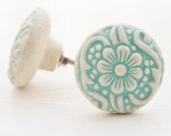 Cottage Chic Light Aqua And Cream -Daisy Design Flower Ceramic Drawer Knob Pulls-Dresser Hardware-Spring Home Decor-Natural Pale-Furniture