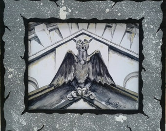 Oakland Cemetery Gargoyle Print with Hand Painted Cardboard Mat LARGE VERSION