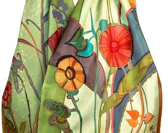 Silk Scarf Hand Painted Floral Rhapsody in Spring Grass Green. Original Painting on Silk. Spring Fashion. Gift for her. French Silk Dyes.