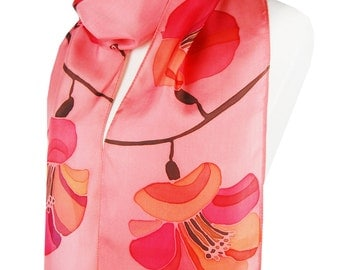 Cherry Blossom Petal Pink Silk Scarf. Hand Painted. Extra Long. 72 inches long scarf Pink, Rose, Salmon, Petal. Cherry in Bloom. Japaneese.