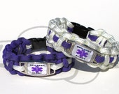 Epilepsy Medical Alert ID ALLOY Rectangle Charm on 550 Paracord Survival Strap Bracelet with Plastic Contoured Side Release Buckle