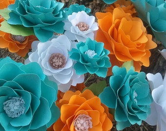 Paper Flowers - Wedding - Birthday - Special Events - Stemmed - Set of 24 - Any Color - Mixed Sizes - Made To Order