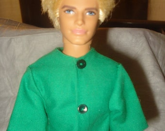 Short sleeve button front green dress shirt for Male Fashion Dolls - kdc18