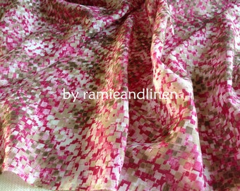 "silk fabric,  pink mosaic print silk cotton blend fabric, half yard by 52"" wide"