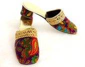 Vintage 1960s Mod Shoes Unused Psychedelic Paisley Slippers Size 7.5 to 8