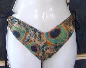 Peacock print Scrunch butt bottoms butt lift bottoms in blue or green peacock