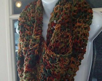 Autumn leaves cowl infinity scarf neckwarmer fall harvest colors