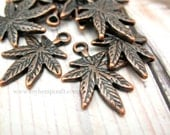 Cannabis Leaf Charms, 10pc Red Copper Colored, Metal Charms, 15x21mm