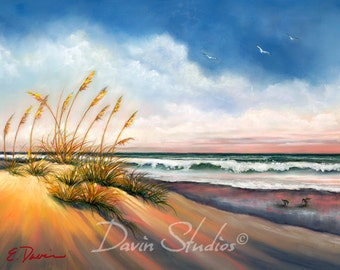 Sea Oats and Sandpipers - Sandy beach and Ocean Waves and Sandpipers  Seascape signed art print