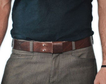 Everyday Belt LONG - Handmade Leather - Brown